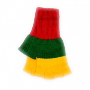 Striped Fingerless Gloves With National Lithuanian Colors